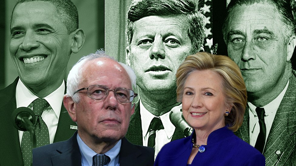 Composite image of Bernie Sanders and Hillary Clinton with Barack Obama, John F Kennedy and Franklin D Roosevelt