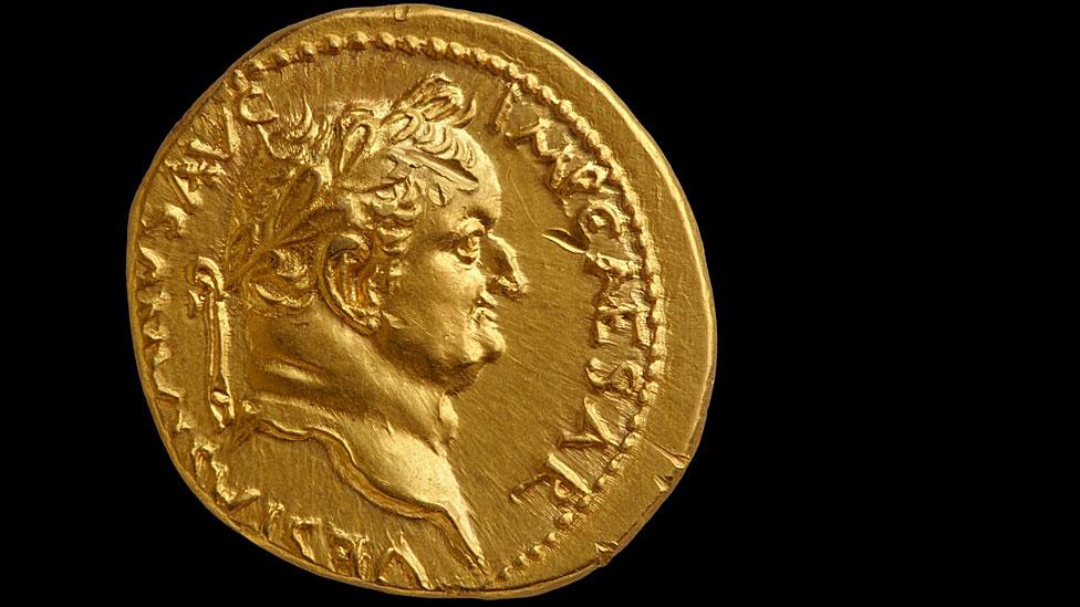 Moneda de oro de la época de Vespasiano