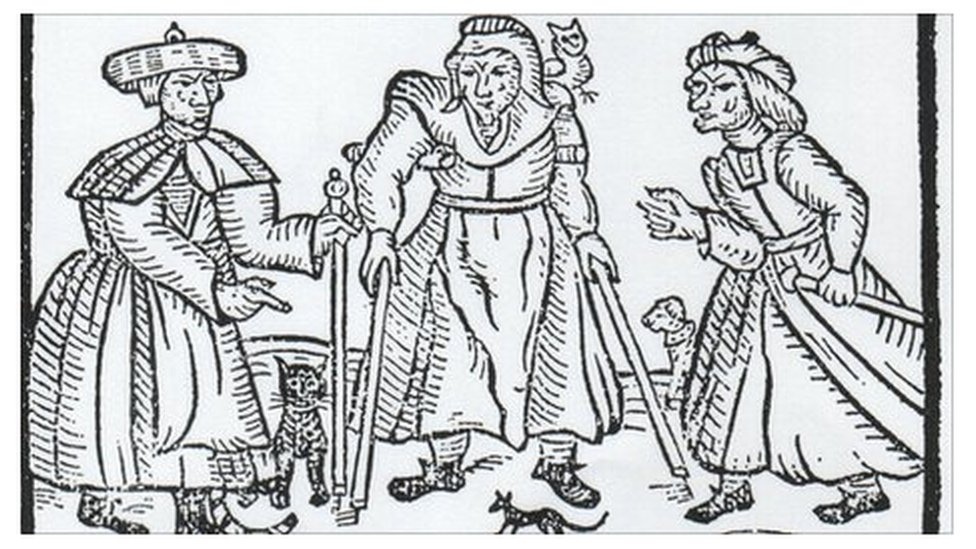 17th century woodcut of witches