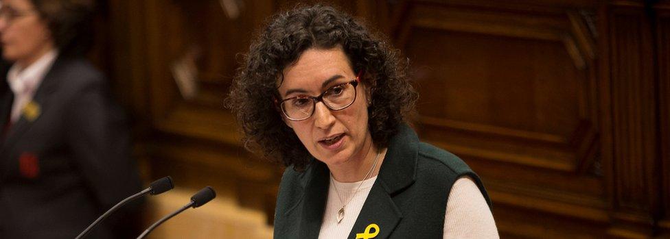 Republican Left of Catalonia (ERC) General Secretary Marta Rovira speaks during a session in Catalonia's regional parliament in Barcelona on 1 March 2018