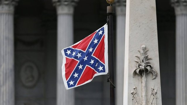 The Confederate flag on the grounds of the South Carolina capitol