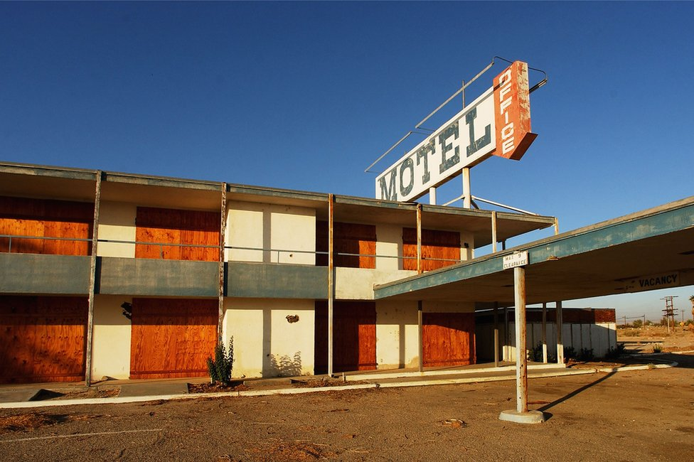 An abandoned motel near the Mexican border in southern California