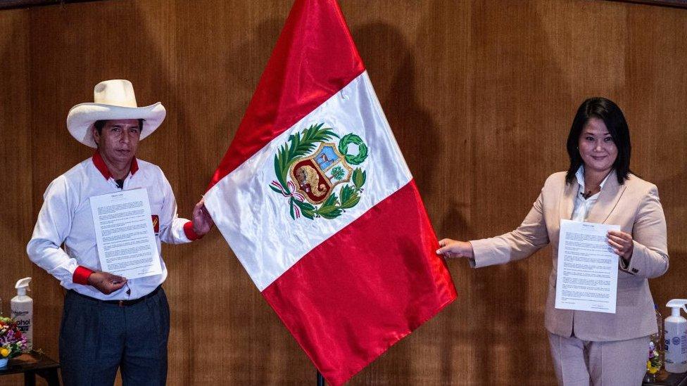 Pedro Castillo y Keiko Fujimori, candidatos a las elecciones presidenciales de Perú.