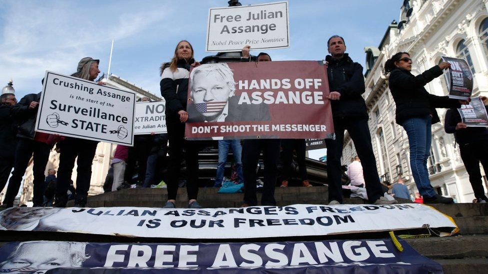 Marcha a favor de Julian Assange