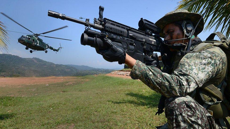 Un soldado de fuerzas especiales peruanas en la zona del Vraem, en 2015.