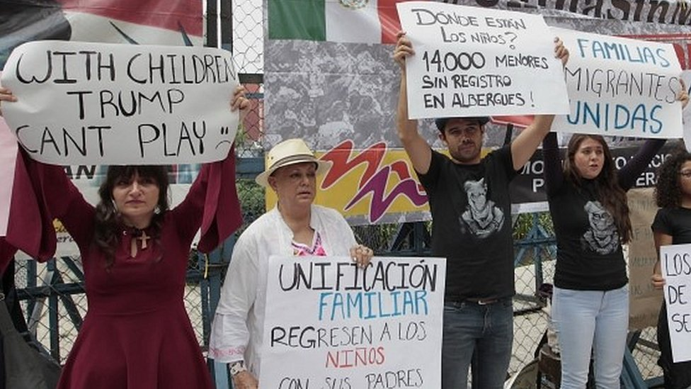 Mexicans protest against the separation of immigrant children from their parents on the border with the US
