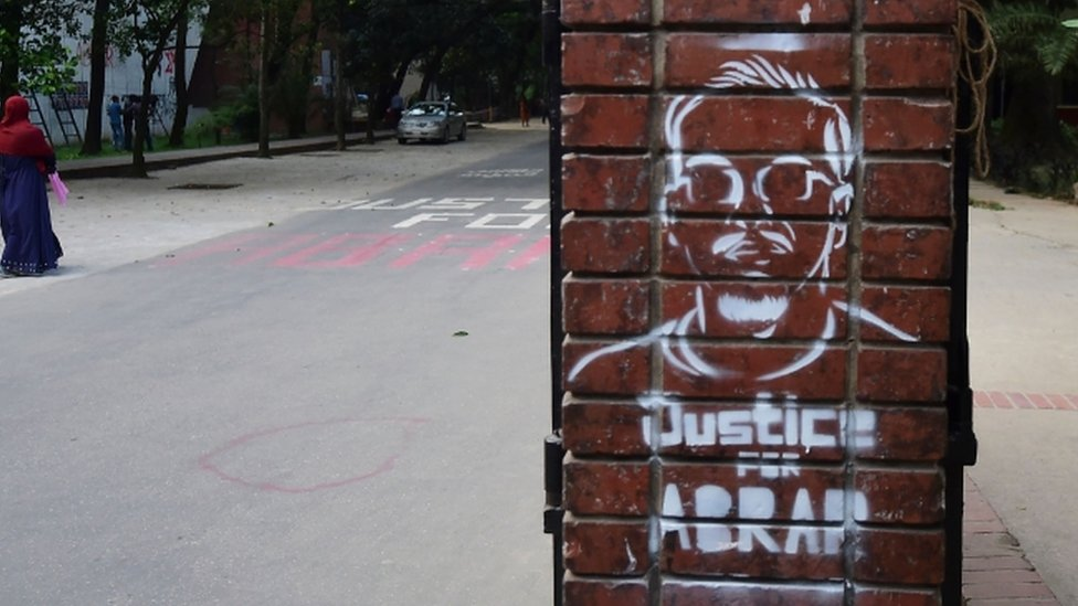 Graffiti of Abrar Fahad, with the words Justice for Abram printed underneath