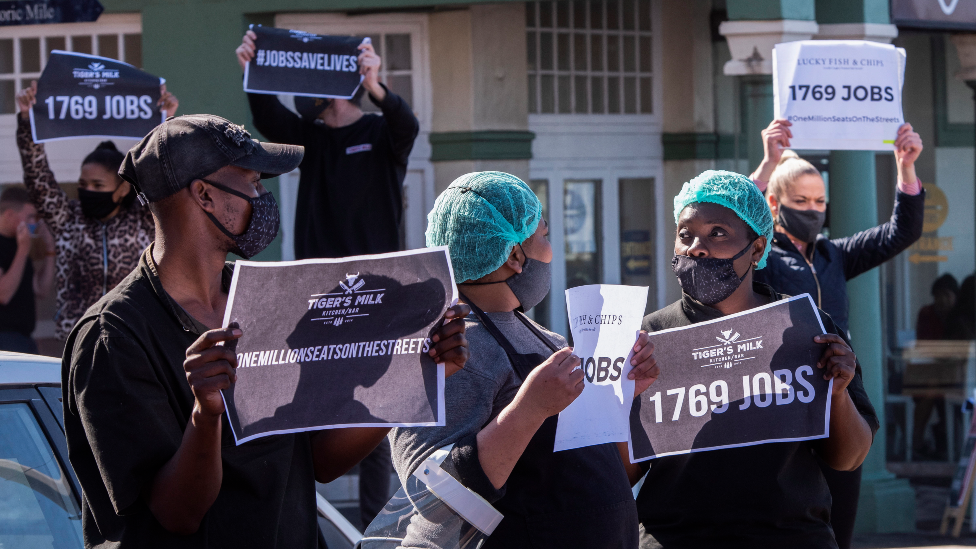 Restaurant workers in Cape Town demonstrating against South Africa's alcohol ban in July 2020