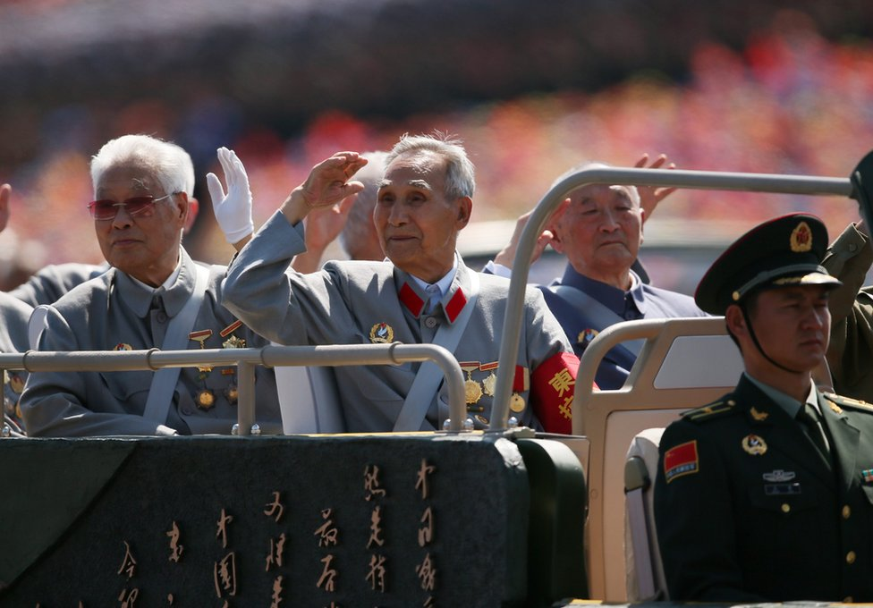 A picture released by Xinhua News Agency shows veterans saluting as they pass through Tiananmen Square during a military parade marking the 70th Anniversary of the Victory of Chinese People's Resistance against Japanese Aggression and World Anti-Fascist War in Beijing, China, 3 September 2015.