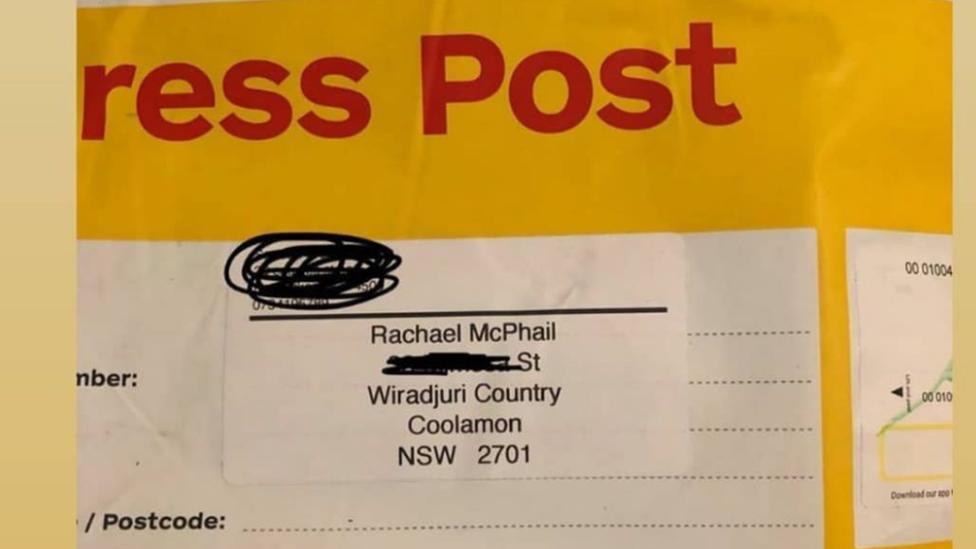 A sample address with an Aboriginal name