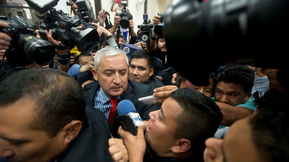"""Guatemala""""s President Otto Perez Molina arrives to court to face corruption charges, after submitting his resignation in Guatemala City, Thursday, Sept. 3, 2015"""