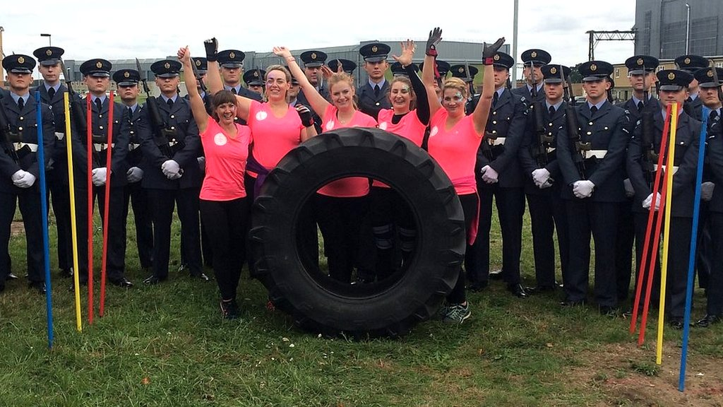 Ladies flip for Suffolk giant tractor tyre cancer challenge