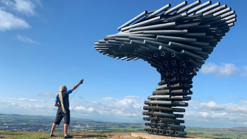 Paul records at the Singing Ringing Tree sculpture near Burnley