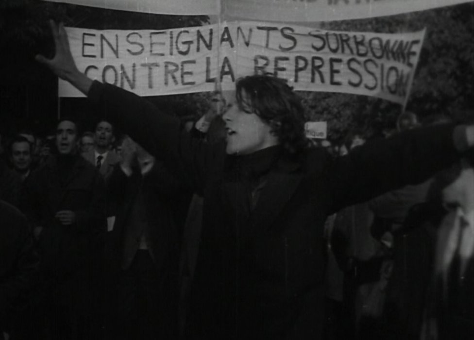 Student protest outside the Sorbonne University in Paris, 1968
