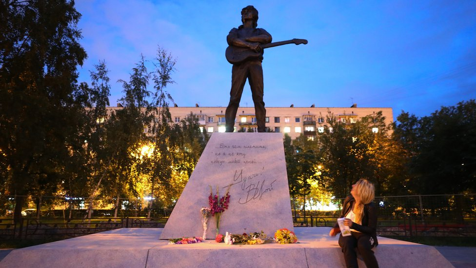 A statue of Russian musician Viktor Tsoi installed to mark his 30th death anniversary in St Petersburg's Kirovsky District
