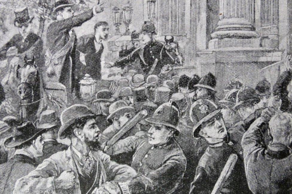 Una protesta en la Inglaterra del siglo XIX