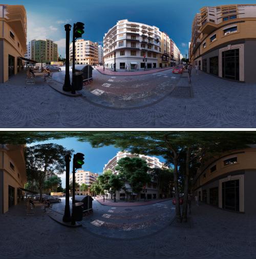 """Simulaciones virtuales con y sin vegetación para el proyecto de investigación """"Desarrollo de un índice cognitivo-emocional para cuantificar la percepción de seguridad del peatón. Aplicación en espacios urbanos""""."""