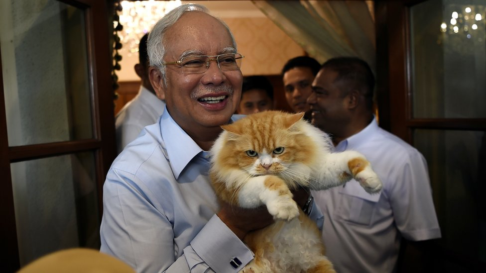 Malaysia's Najib Razak and his cat Kiki