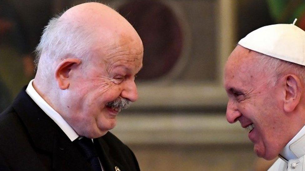 Frà Giacomo Dalla Torre del Tempio di Sanguinetto (L) with Pope Francis