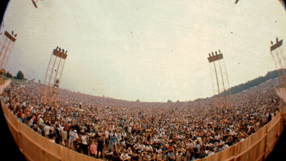 Asistentes al festival de Woodstock