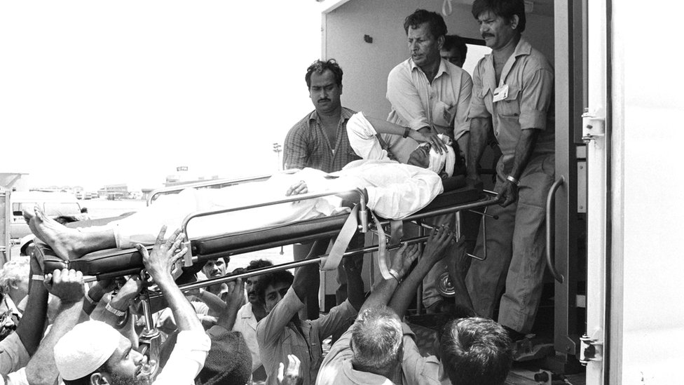 Injured victims from Pan Am 73 are evacuated to a US military hospital in Germany on 6 September 1986