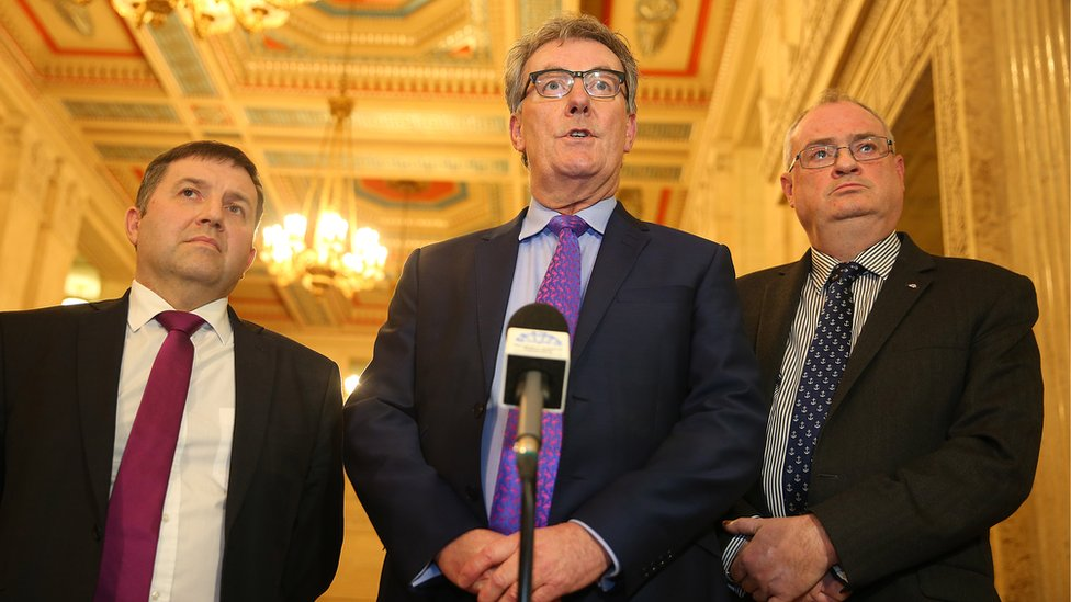 UUP leader Mike Nesbitt with party colleagues Robin Swann and Steve Aiken