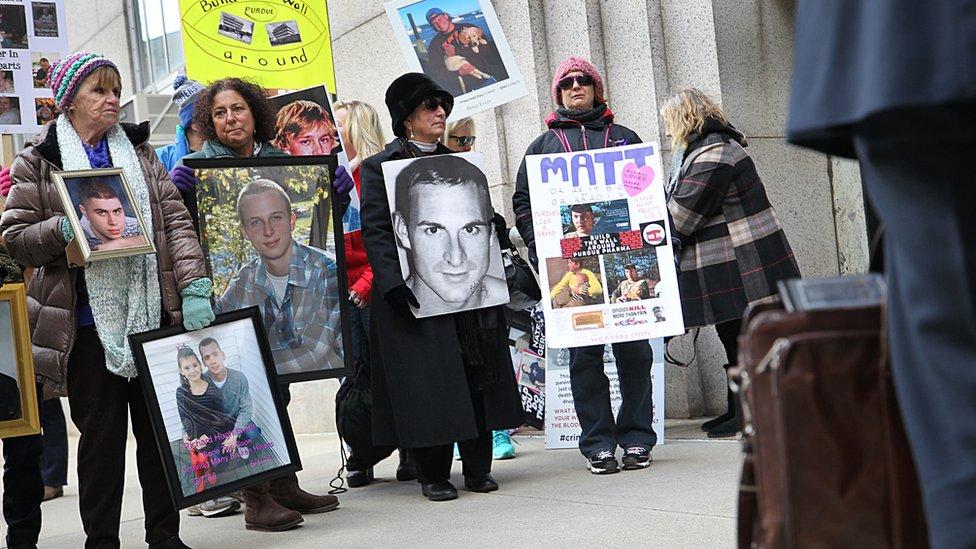 Protesta contra Purdue Pharma en enero de 2019