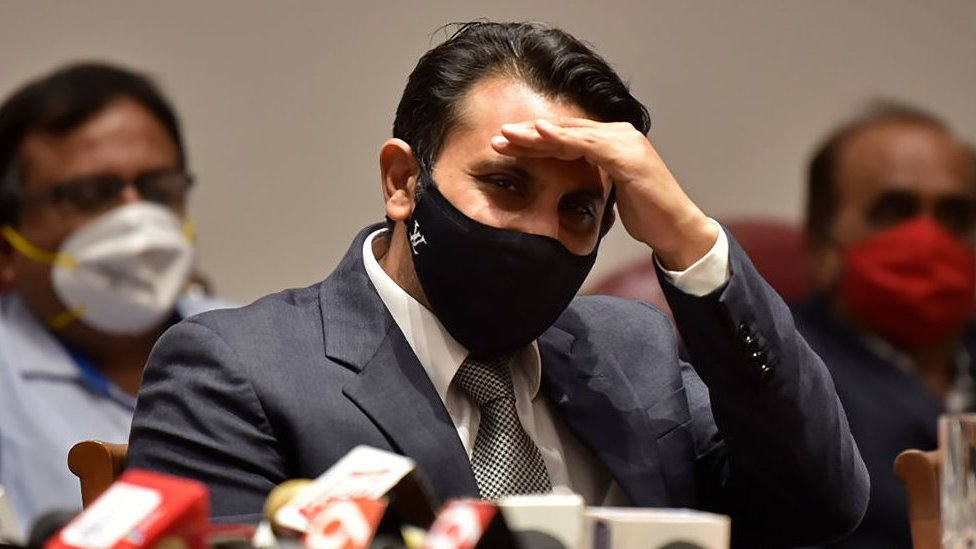 Adar Poonawalla in a face mask at a press conference in January