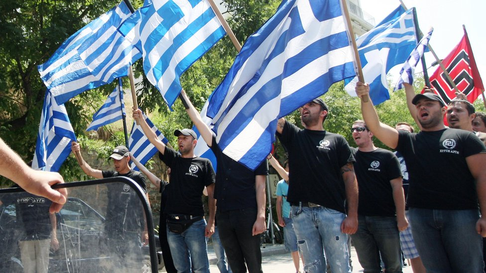 Members of the Greek far-right ultra nationalist party Golden Dawn (Chryssi Avghi)