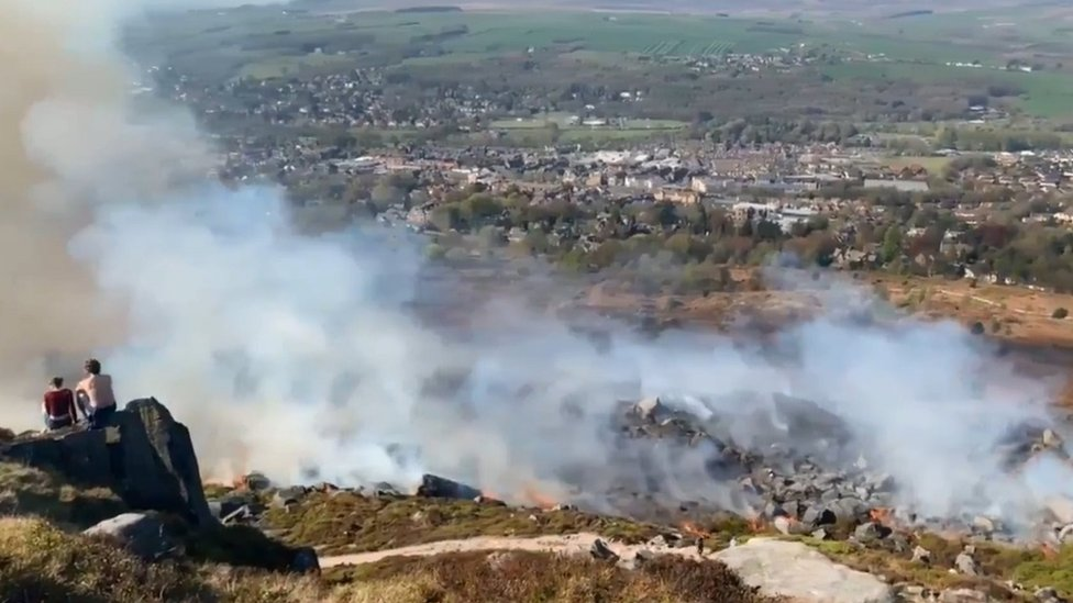 Ilkley Moor fire: Crews battle 'intense' moorland blaze