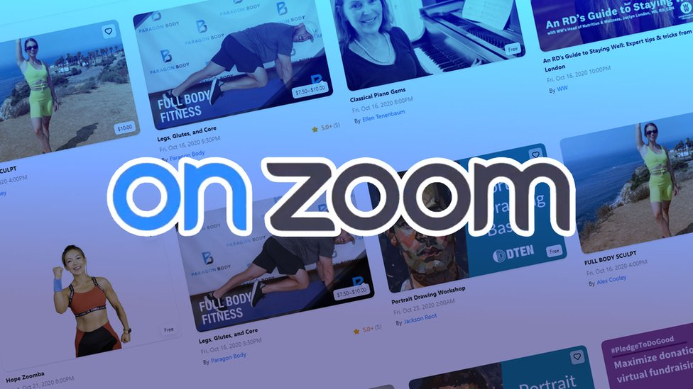 OnZoom logo set against a range of its own classes on its website