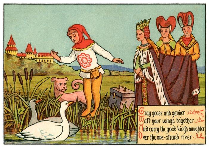 Dibujo de azafatas con la reina y un bufón.