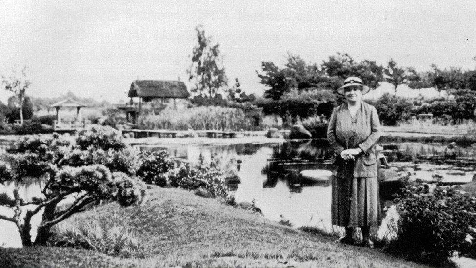 Ella Christie in the Japanese garden at Cowden Castle in 1934