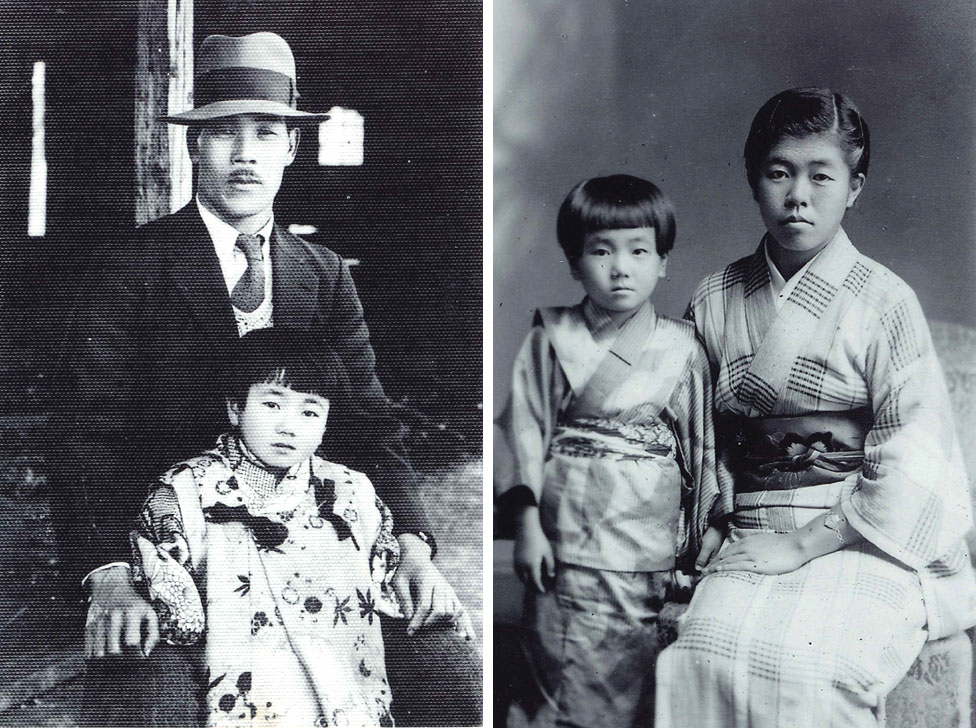 Reiko seen posing with her father and with her older sister