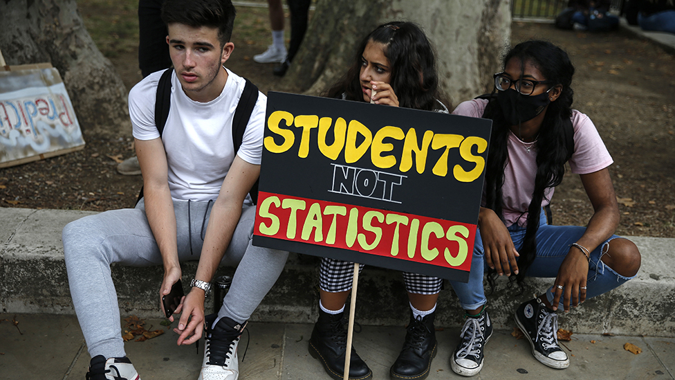 Students protesting against A-level marking, 14 August 2020