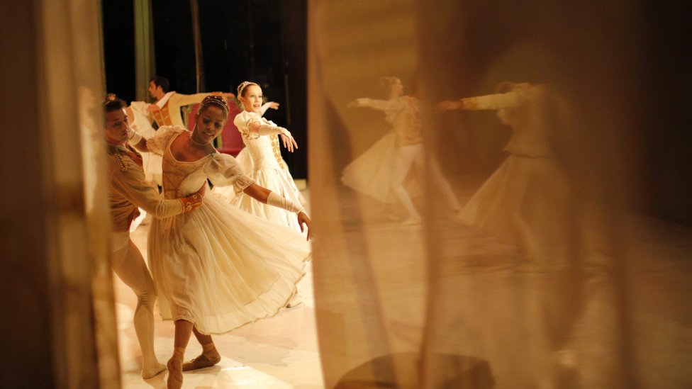 "Ballet dancers from the Joburg Ballet perform during the final dress rehearsal of ""Cinderella"" at the Civic Theater in Johannesburg, South Africa, 29 September 2016"