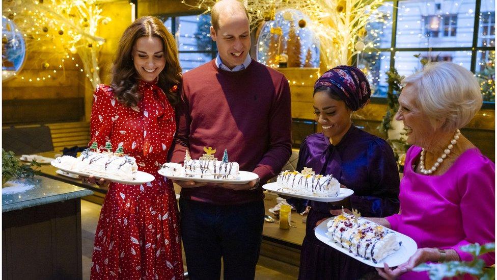 The Duchess of Cambridge with Nadiya Hussain andMary Berry