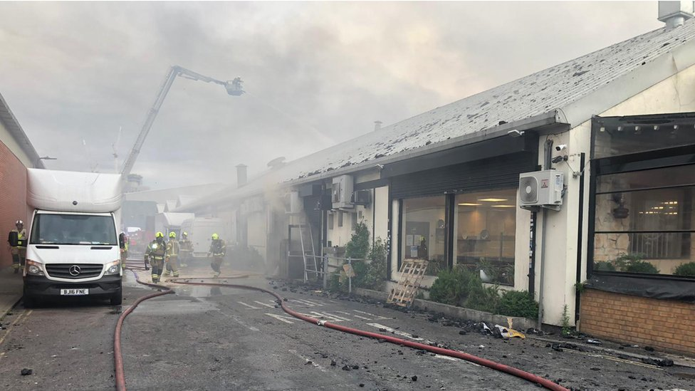 The blaze is over two storeys of a bakery and restaurant