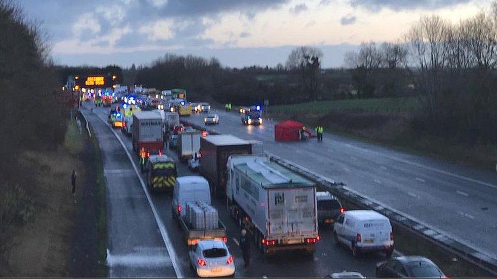 The scene on the M5 near Taunton