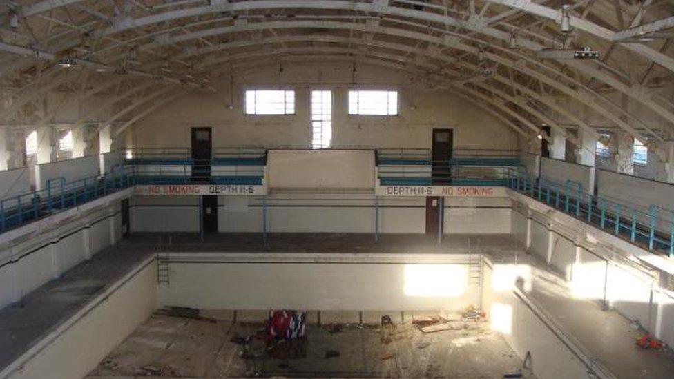 The swimming bath, Royal Navy training establishment, Shotley, Suffolk, taken in 2010.