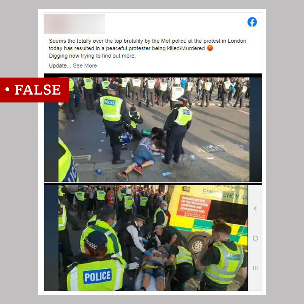 "A Facebook post labelled ""False"". Includes a claim that a protester was killed by the Met police accompanied by two images of a man lying on the ground and a stretcher surrounded by police and ambulance crew."