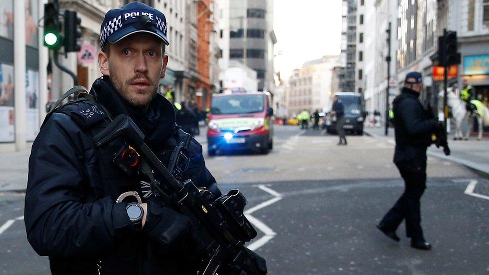 Armed police at the scene