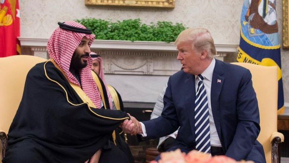 Donald Trump con el príncipe heredero Mohammed bin Salman de Arabia Saudita, marzo 2018