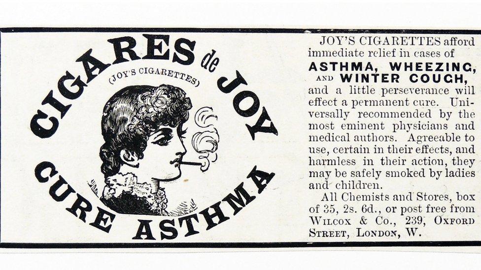 Publicidad de cigarrillos para el asma.