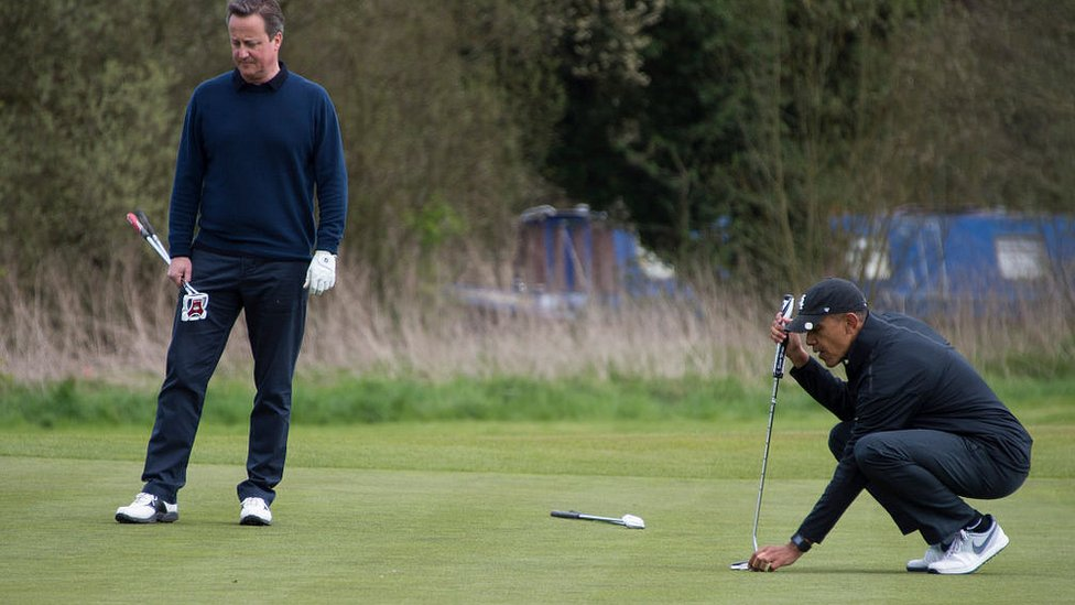 David Cameron and Barack Obama played golf at The Grove Golf Course near Watford, England, on April 23, 2016