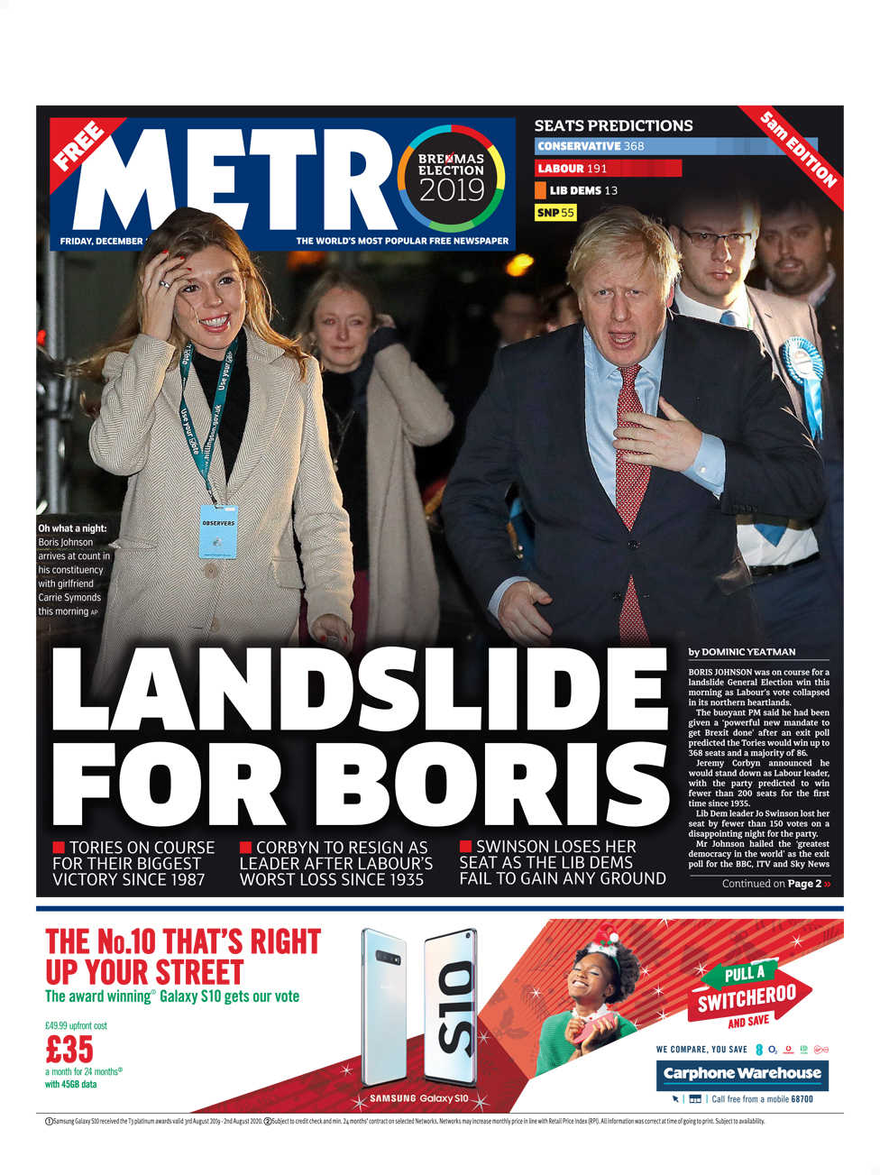Friday's Metro front page (late edition)