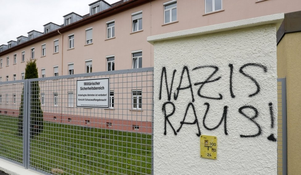 "Letters reading ""Nazis Raus!"" (Nazis out!) on a fence near the main gate of the Fürstenberg barracks in Donaueschingen, Germany, 07 May 2017."