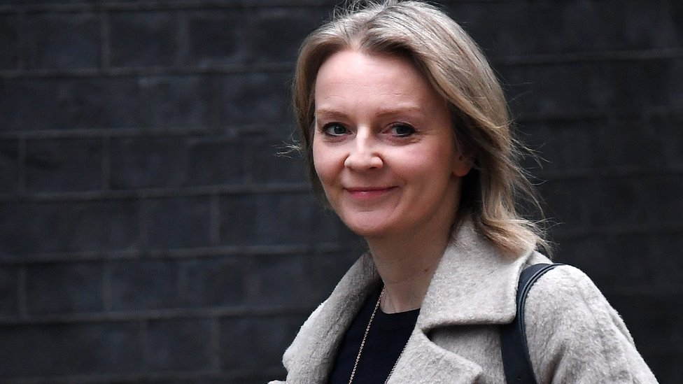 Chief Secretary to the Treasury, Liz Truss, looks at the cameras as she walks to Cabinet meeting