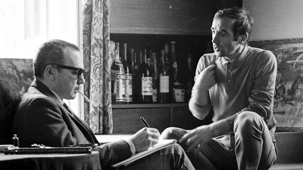 Herbert Kretzmer (left) and Charles Aznavour in 1965