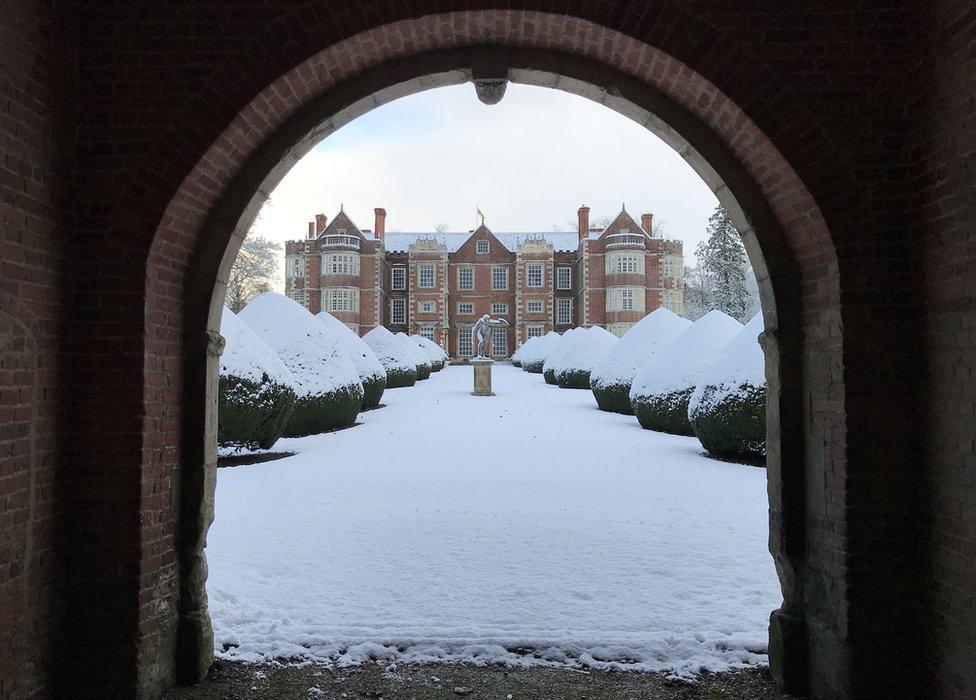 Burton Agnes Hall in the snow